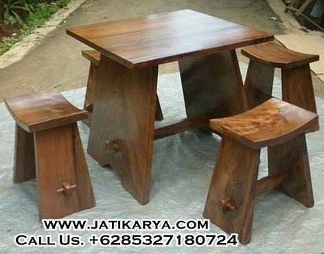 Set Meja Makan Kayu Solid Model Minimalis