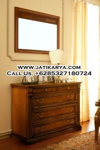 Drawer Laci Kombinasi Mirror Kayu Jati