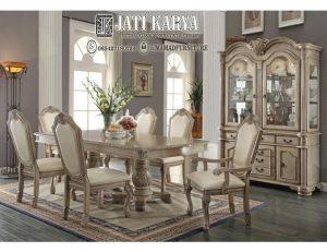 Meja Makan Jepara Chateau Antique White Gloosy