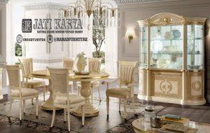 Set Meja Makan Royal Platinum Ukiran Klasik Jepara