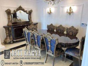 set meja makan Mewah ukiran klasik jati furniture