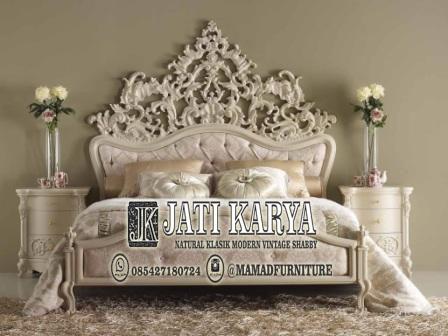tempat tidur mewah ukiran klasik jepara jati putih