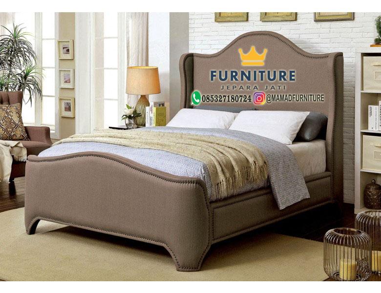 Modern Tempat Tidur Minimalis Jepara Bungkus Kain Brown