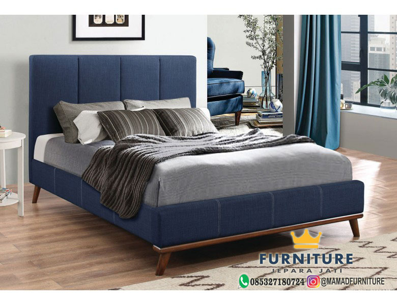 Tempat Tidur Jati Minimalis Modern Bungkus Kain